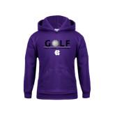 Youth Purple Fleece Hood-Golf Ball Design