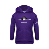 Youth Purple Fleece Hood-Baseball