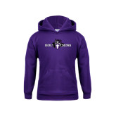 Youth Purple Fleece Hood-Official Logo