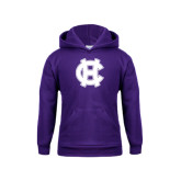 Youth Purple Fleece Hoodie-Interlocking HC