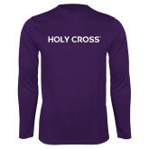 Performance Purple Longsleeve Shirt-Holy Cross Wordmark