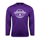 Performance Purple Longsleeve Shirt-Crusaders Basketball Arched w/ Ball