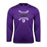 Performance Purple Longsleeve Shirt-Softball Stitches