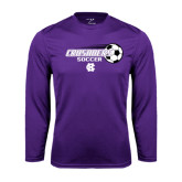 Performance Purple Longsleeve Shirt-Soccer w/ Flying Ball