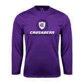 Performance Purple Longsleeve Shirt-Vollyball Ball Design