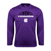Performance Purple Longsleeve Shirt-Basketball Half Ball Design