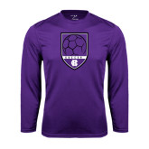 Performance Purple Longsleeve Shirt-Soccer Shield Design
