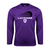 Performance Purple Longsleeve Shirt-Abstract Lacrosse Design