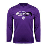 Performance Purple Longsleeve Shirt-Hockey Puck Design