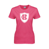 Ladies Fuchsia T Shirt-HC Shield