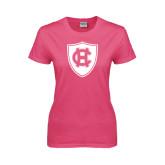 Ladies Fuchsia T Shirt-HC Shield