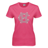Ladies Fuchsia T Shirt-Interlocking HC Rhinestones