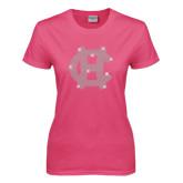 Ladies Fuchsia T Shirt-Interlocking HC Rhinestones