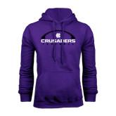 Purple Fleece Hood-Crusaders Football Horizontal