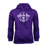 Purple Fleece Hoodie-Crusaders Basketball Arched w/ Ball