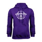 Purple Fleece Hood-Crusaders Basketball Arched w/ Ball