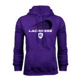 Purple Fleece Hoodie-Abstract Lacrosse Design