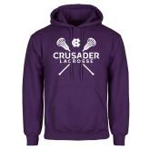 Purple Fleece Hoodie-Lacrosse Crossed Sticked