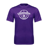 Syntrel Performance Purple Tee-Crusaders Basketball Arched w/ Ball