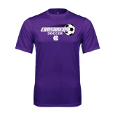 Performance Purple Tee-Soccer w/ Flying Ball
