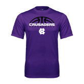 Performance Purple Tee-Basketball Half Ball Design
