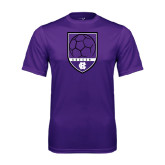 Syntrel Performance Purple Tee-Soccer Shield Design