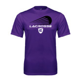 Performance Purple Tee-Abstract Lacrosse Design