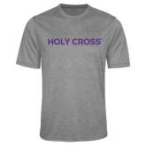 Performance Grey Heather Contender Tee-Holy Cross Wordmark