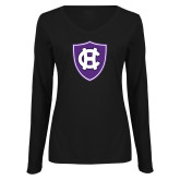 Ladies Black Long Sleeve V Neck Tee-HC Shield