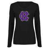 Ladies Black Long Sleeve V Neck Tee-Interlocking HC