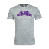 Next Level SoftStyle Heather Grey T Shirt-Holy Cross Crusaders Arched