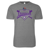 Next Level SoftStyle Heather Grey T Shirt-2017 Patriot League Mens Champions Baseball
