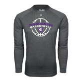 Under Armour Carbon Heather Long Sleeve Tech Tee-Crusaders Basketball Arched w/ Ball