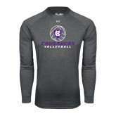 Under Armour Carbon Heather Long Sleeve Tech Tee-Vollyball Ball Design