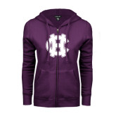 ENZA Ladies Purple Fleece Full Zip Hoodie-Interlocking HC