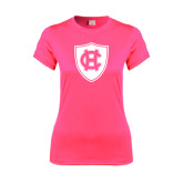 Ladies Performance Hot Pink Tee-HC Shield
