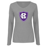 Ladies Grey Long Sleeve V Neck Tee-HC Shield