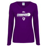 Ladies Purple Long Sleeve V Neck T Shirt-2017 Patriot League Mens Champions Baseball