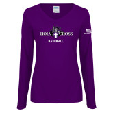 Ladies Purple Long Sleeve V Neck T Shirt-Baseball