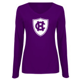 Ladies Purple Long Sleeve V Neck Tee-HC Shield