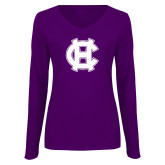 Ladies Purple Long Sleeve V Neck Tee-Interlocking HC