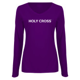 Ladies Purple Long Sleeve V Neck Tee-Holy Cross Wordmark