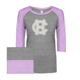 ENZA Ladies Athletic Heather/Hot Violet Vintage Triblend Baseball Tee-Interlocking HC