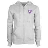 ENZA Ladies White Fleece Full Zip Hoodie-HC Shield