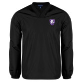 V Neck Black Raglan Windshirt-HC Shield