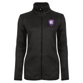 Black Heather Ladies Fleece Jacket-HC Shield