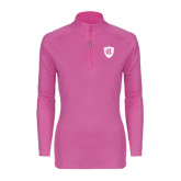 Ladies Syntrel Interlock Raspberry 1/4 Zip-HC Shield
