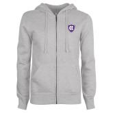 ENZA Ladies Grey Fleece Full Zip Hoodie-HC Shield
