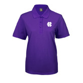 Ladies Easycare Purple Pique Polo-Interlocking HC