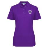 Ladies Easycare Purple Pique Polo-HC Shield